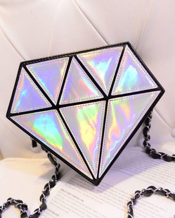 holographic diamond shape purse2