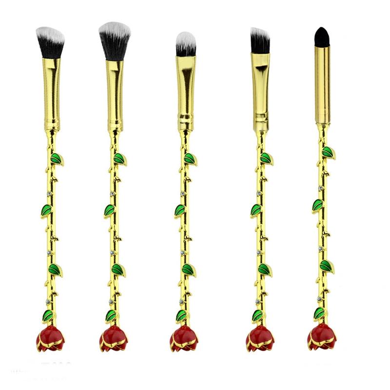 Luxury Rose Makeup Brush Set 5pcs | Onyx Bunny