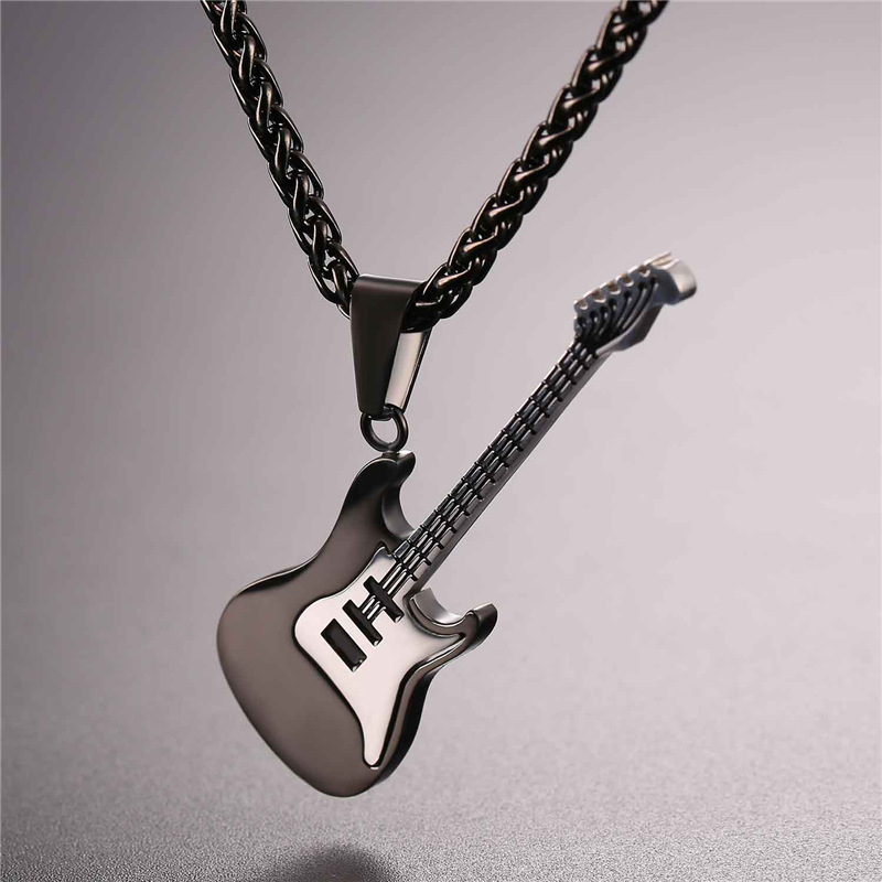 link color stainless chain wholesale necklace pendant gold men male rock guitar product steel silver cuban jewelry punk necklaces free pendants