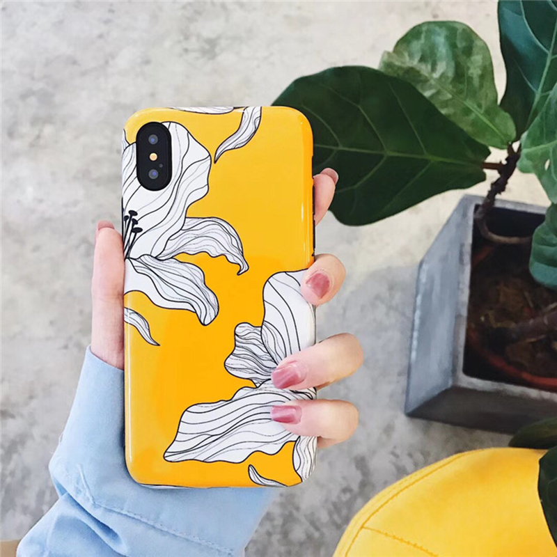 hot sale online d0eae b0073 Floral Yellow Aesthetic iPhone Case