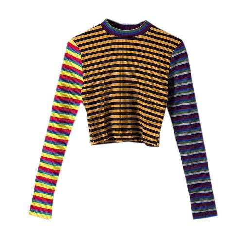 3c64dfbdb Nice Girl Striped Long Sleeve Crop Top - Onyx Bunny