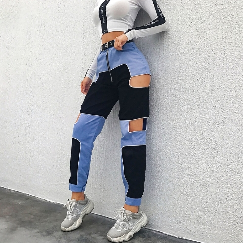 Patches Streetwear Pants - Onyx Bunny